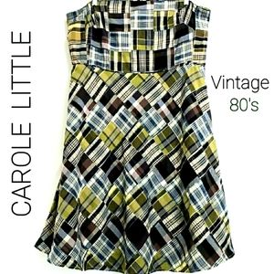 Vintage Carole Little Strapless Patchwork …